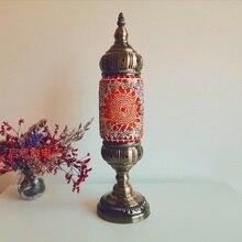 Yeni stil türk mozaik masa lambası vintage art deco el işi lamparas de mesa cam romantik yatak ışığı lamparas con mosaicos