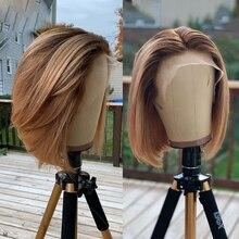 T4/27 ludzki włos koronki przodu peruki prosto brazylijski Remy Ombre miód blond wstępnie oskubane głębokie T część Bob peruka bielone węzłów 130%