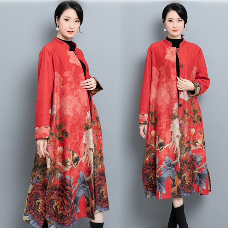 2020 Chinese Style Ladies Cotton Padded Traditional Embroidery Warm Long Sleeve Outwear Loose Female Handmade Button Coat
