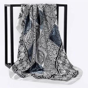 Image 4 - Zijden Sjaal Vrouwen Afdrukken Haar Nek Vierkante Sjaals Kantoor Dames Sjaal Bandana 90*90Cm Moslim Hijab Zakdoek Uitlaat foulard