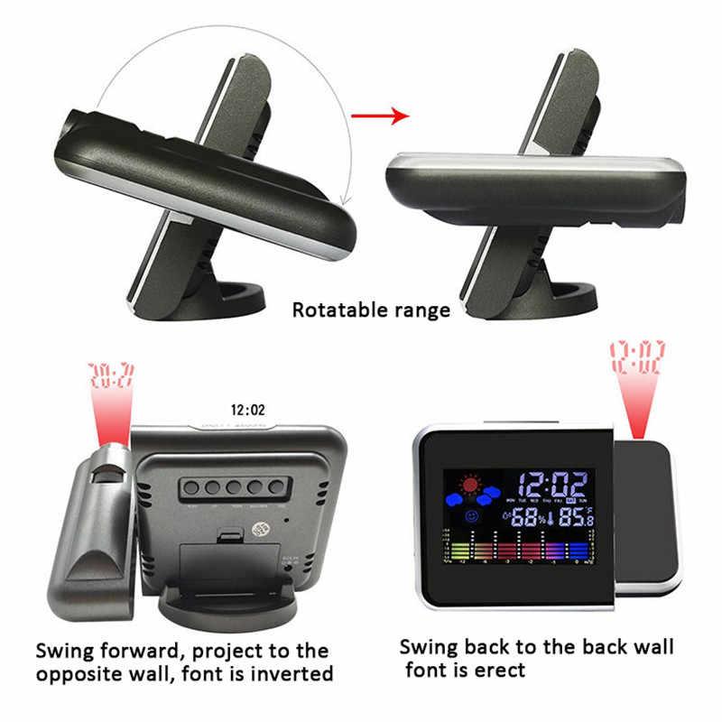 1 PC Proyeksi Jam Alarm dengan Weather Station Thermometer Tanggal Menampilkan Jam Digital USB Charger Tunda LED Proyeksi