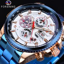 Forsining Blue Stainless Steel Men Automatic Mechanical Sport Watch Top Brand Luxury Travel Best Gift For Men Casual Wearing стоимость