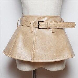 Image 5 - CETIRI Designer Women Peplum Belt Female Skirt Waist Belts Fashion Ladies PU Black Bow Wide Harness Dresses Waistband