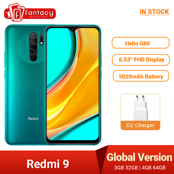 "Global Version Xiaomi Redmi 9 Mobile Phones  NFC Helio G80 32GB 64GB 6.53"" FHD+ Screen 13MP AI Quad Cams Smartphone 5020mAh 1"
