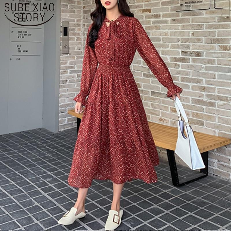 Casual Women Spring Fashion 2020 Chiffon Dress Korean Style Women Long Sleeved A Line Print Pleated Dress 8315 50 Leather Bag