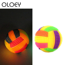 Luminous Dog Toy Football Durable Bouncy Balls Bite- resistant Chewing Ball Training Toys with Sound and Light