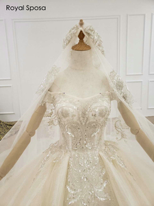 Image 3 - 2020 Royal wedding dress off the shoulder sleeves with long veil real work