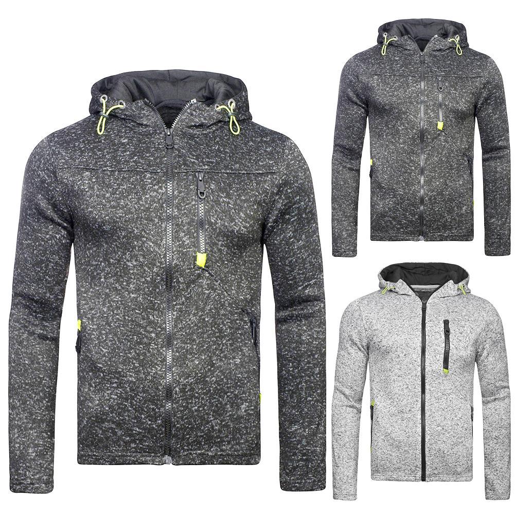 2019 Fashion Men Hoodies Solid Color Hooded Jacket Zippered Long Sleeve Coat Sweatshirt Top For Men's Hoodies Clothing