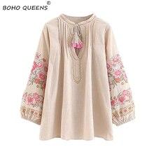 Весенняя женская богемная рубашка с кисточками, милая пляжная льняная хлопковая блузка с цветочной вышивкой, свободные рубашки в стиле бохо