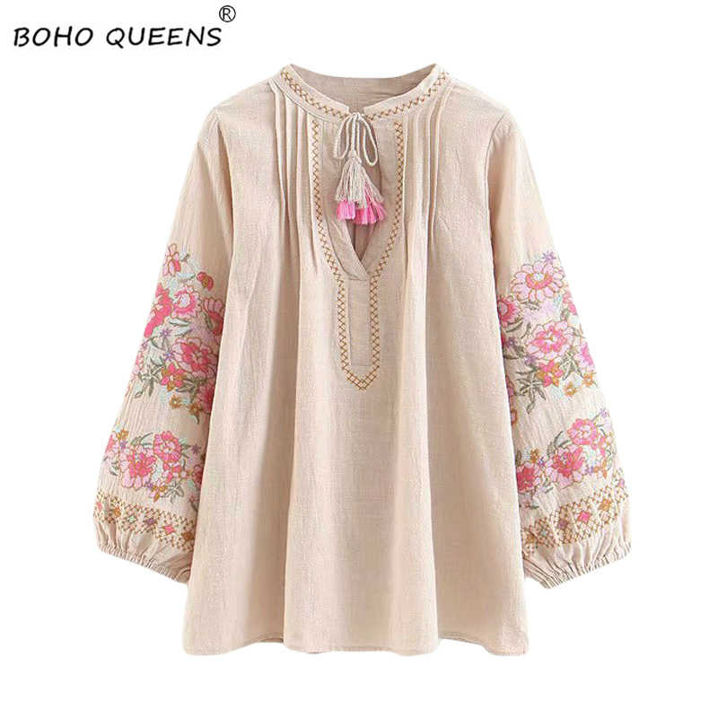 Spring women bohemian Tassel shirt cute beach floral embroidery linen cotton blouse flare sleeve loose Boho shirts blusa