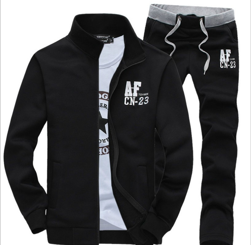 AF MEN'S Sweater Set Casual Men'S Wear Fashion Spring And Autumn Couples Long Sleeve Zipper Stand Collar Coat Straight-Leg Trous
