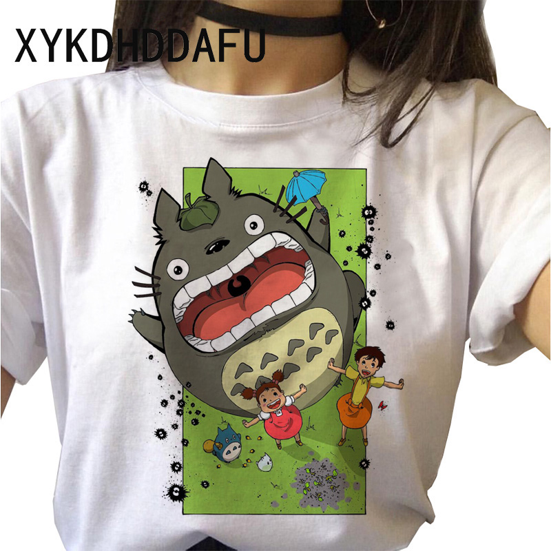 H1d0b118e64d14ddcb4d54b667f8c654fR - Totoro T Shirt Women Kawaii Studio Ghibli Harajuku Tshirt Summer Clothes Cute Female ulzzang T-shirt Top Tee japanese Print
