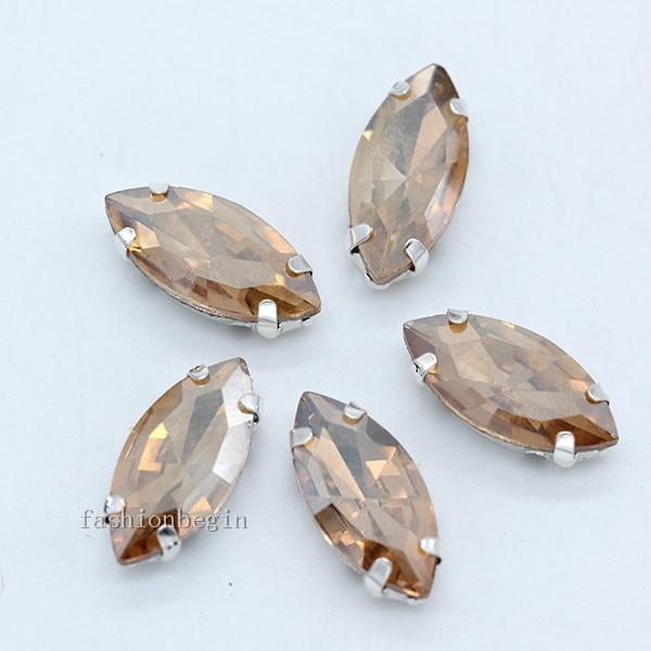 Всех размеров Наветт 24-цветное стекло камень с плоской задней частью, пришить с украшением в виде кристаллов Стразы драгоценные камни бисер с серебряной нитью, бледно-коготь кнопки для одежды аксессуары - Цвет: gold champagne