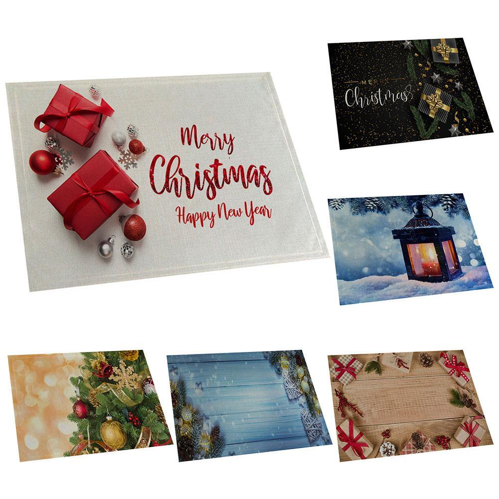 Рождественские украшения, столовые коврики, столовые приборы, вилка, ложка, чаша, тарелка, Подставка для столовых, вечерние, Рождественский Декор