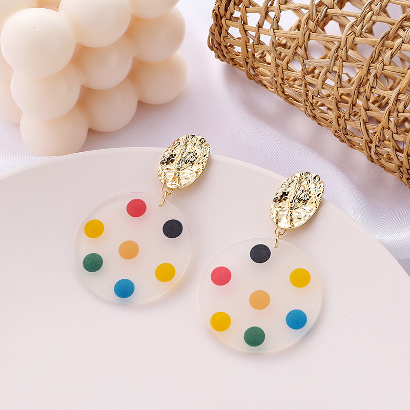 Japanese And Korean Personality Sweet Round Wave Point Earring Net Red Fashionable Geometric Earrings