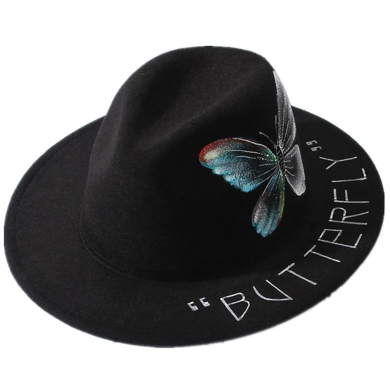 Black Fedoras Hand Drawn Heart Butterfly Pattern Felt Hat Wide Brim Casual Porkpie Jazz Hat Women Men Church Party Sombrero