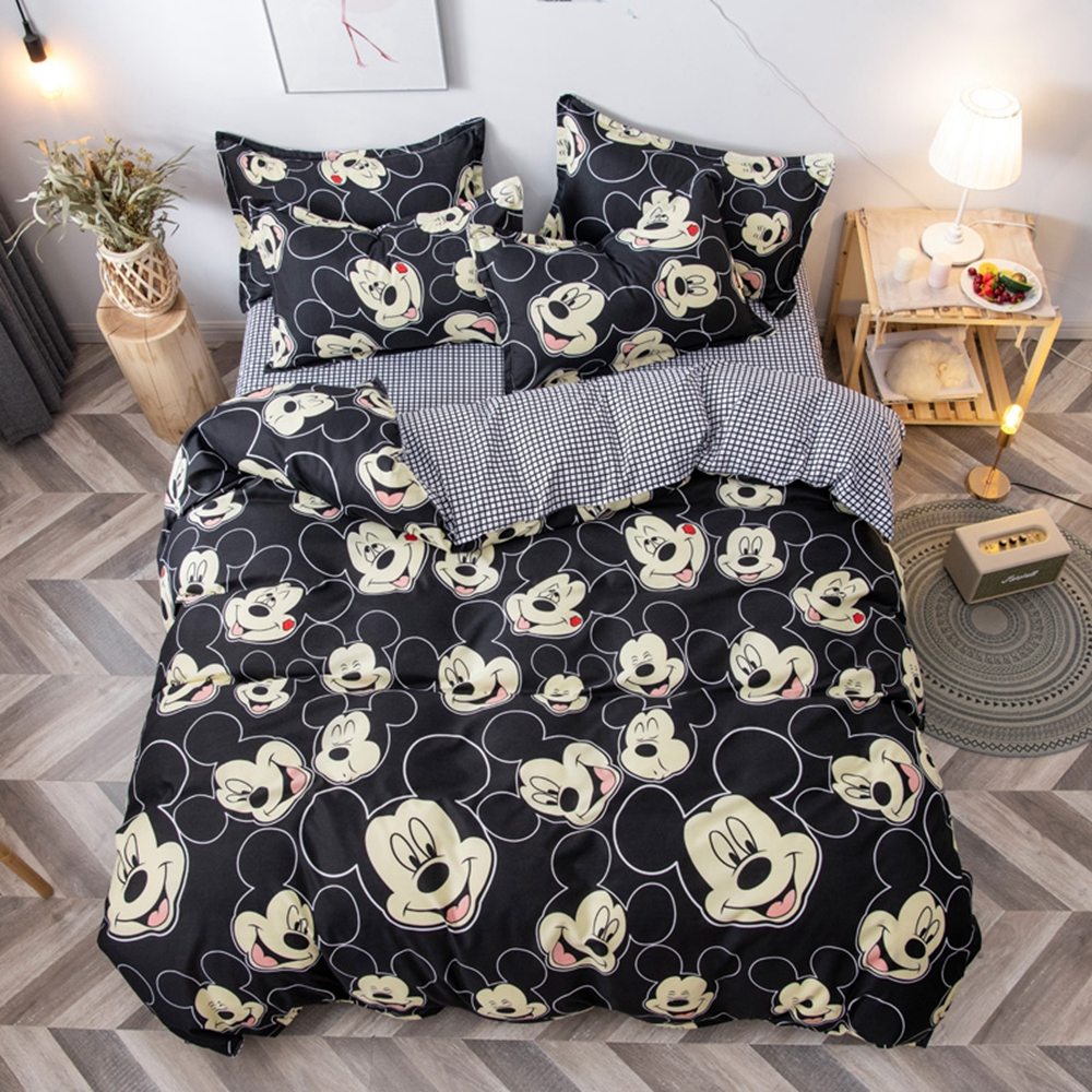 Disney Mickey Pattern Mickey Mouse Bedding Set With Pillowcases Single Double Queen King Sizes Polyester Bed Linens Duvet Cover