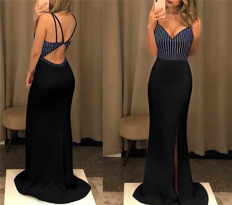 Mode Frauen Pailletten Spaghetti Strap Backless Hohe Slit Maxi Kleid Bodycon Kleid Bodycon Partei Ballkleid Formale Kleid