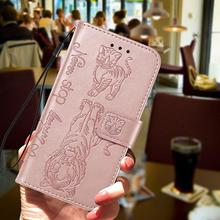 Embossed  Flip Cute Tiger Cat Case for Samsung Galaxy S10 S10e S9 Plus Lite Wallet PU Leather For Note 10 Note10