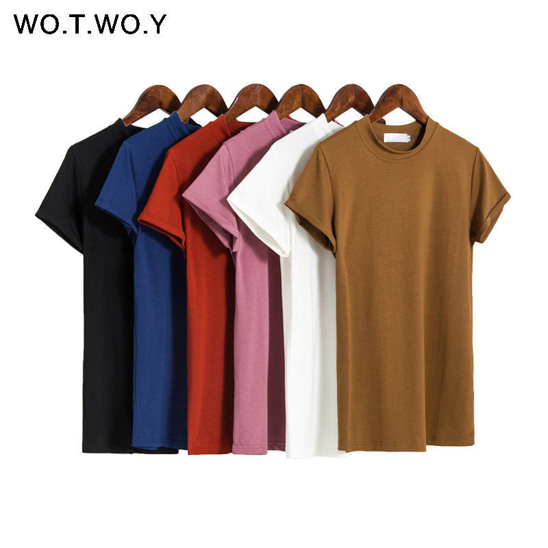 WOTWOY Spring Summer Women Knitted T-shirt 2020 Basic Casual Elastic O-neck Cotton Female Tshirt  Short Sleeve Tops Women