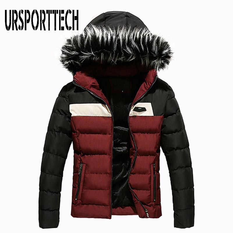 Новая зимняя мужская куртка с воротником из искусственного меха, Короткая Толстая теплая хлопковая парка, мужские куртки с капюшоном на молнии и карманами, верхняя одежда, парка для мужчин