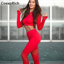 Yoga Set Women Sport Suit Gym Clothes 2 Piece Seamless Hollow Out Fitness Long Sleeve Crop Top High Waist Workout Leggings