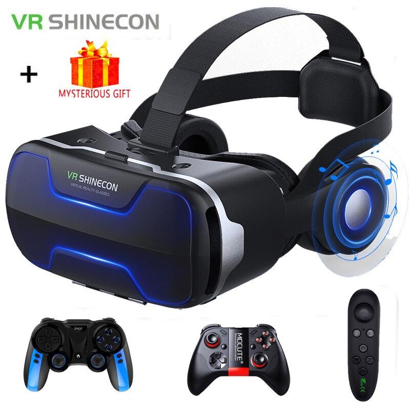 VR Shinecon 8.0 G02ED 3 D Casque Viar 3D Glasses Virtual Reality Headset Helmet Goggle Augmented Lenses for Phone Smartphone Set