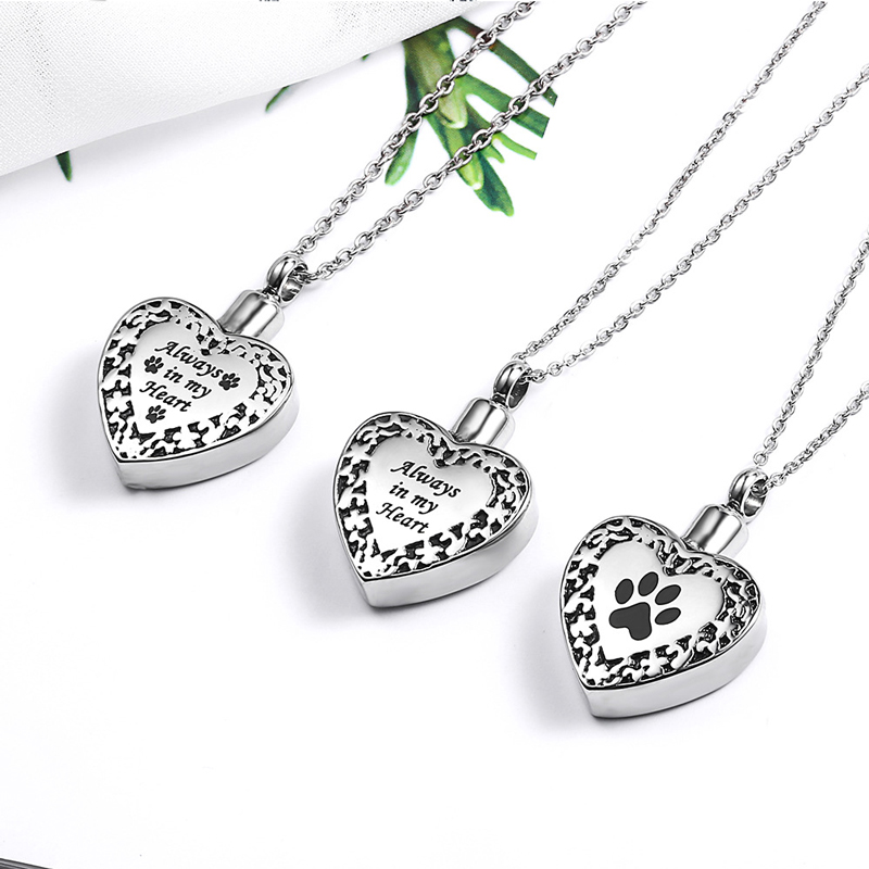Heart-Shaped Pendant Paw Print Urn Ashes Always In My Heart Engrave Pet Cremation Ash Urn Stainless Steel Essential Oil Necklace