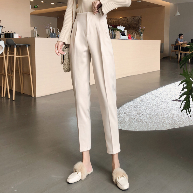 H1d0beade6eb34e7ba699cc7a3e4b9dafp - Autumn / Winter High Waist Thick Broadcloth Solid Pants