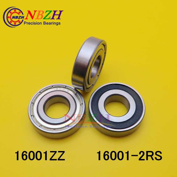 16001-2RS Deep Groove Ball Bearings 12x28x7 mm Double Shielded Chrome Steel Bearings 1 Package