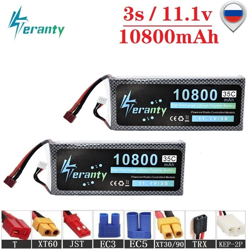 3s 10800mAh 11.1v Lipo Battery For RC Drone Helicopter Car Boat Quadcopter Parts T/XT60 Plug 35C 11.1v Lithium Polymer battery(China)