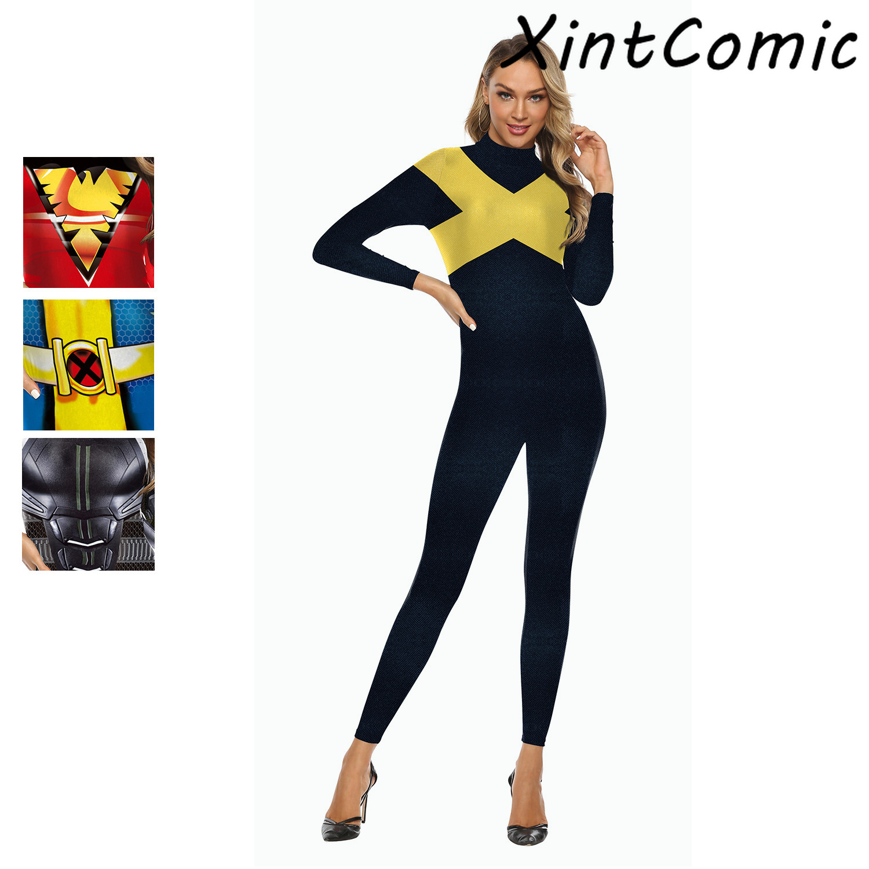 X-Men Dark Phoenix Superhero Jean Grey Jumpsuit Outfit Halloween Cosplay Costume