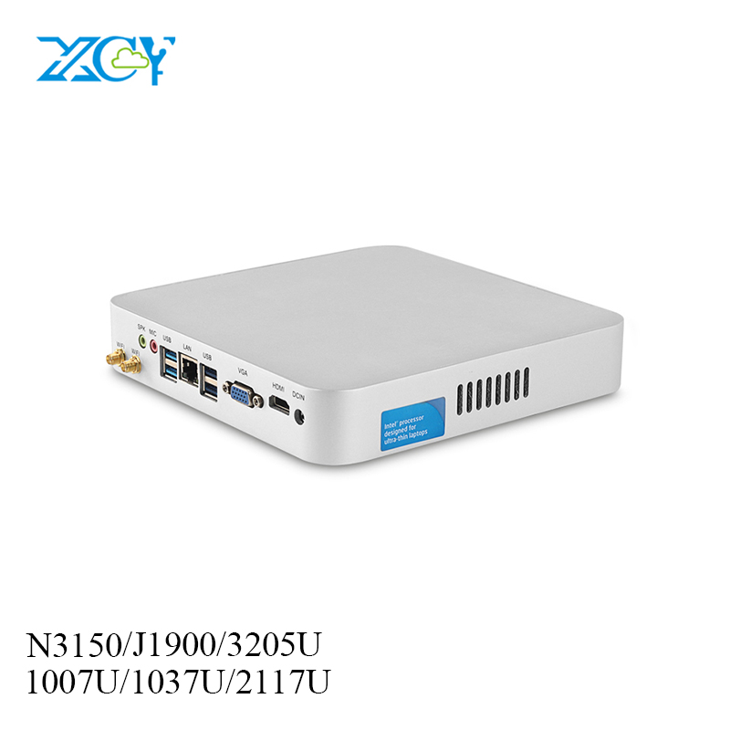 XCY Mini PC Win 10 Intel Celeron 1037u Micro Desktop Pc Htpc Nettop Hdmi Vga Linux Dual Display Wifi Tv Box Minipc