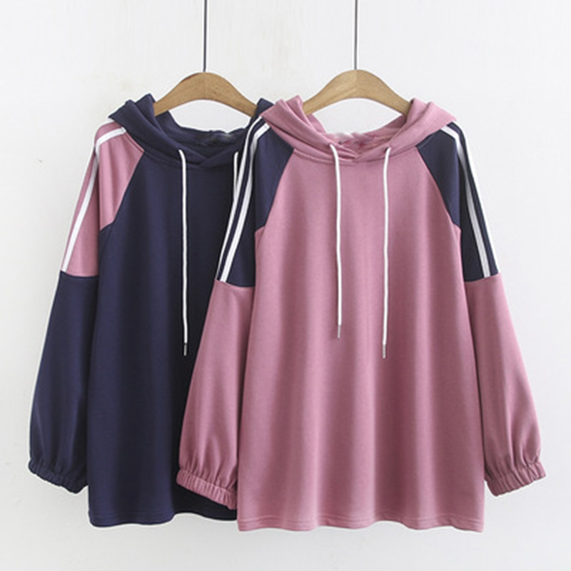 Autumn And Winter Large Size Women's Hoodie 4XL 5XL 6XL 7XL 8XL Color Matching Fashion Casual Sweatshirt Bust 132CM