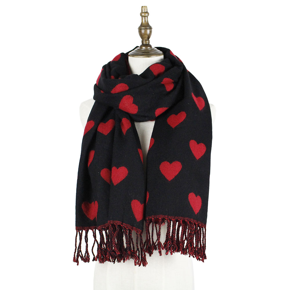 Womens Heart Scarf Winter Scarf Cashmere Wool Thick Love Shawl Scarf Luxury Brand Jacquard Scarfs Ladies Pashmina Fashion Stole