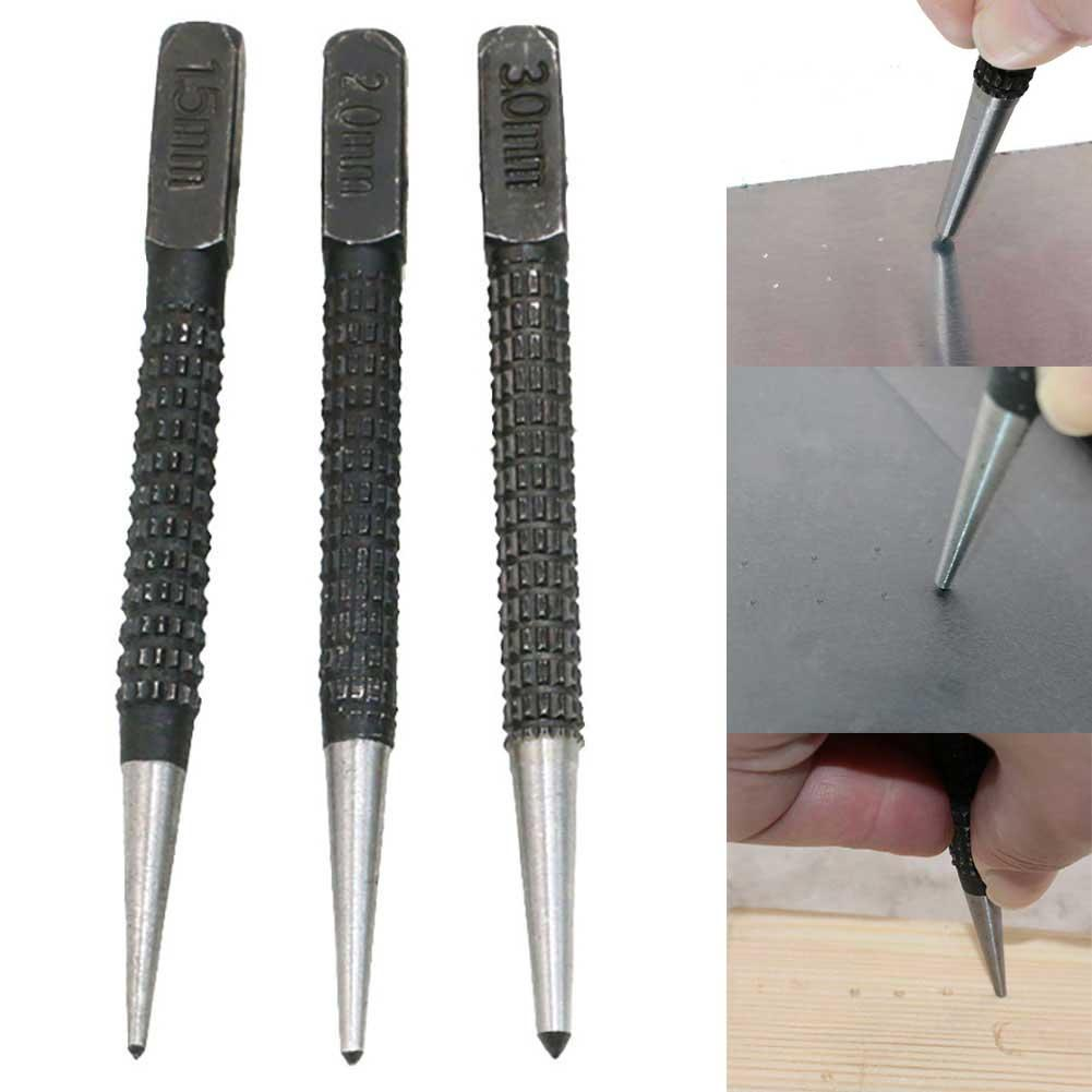 3Pcs 1.5mm/2mm/3mm Alloy Steel Center Punch Metal Wood Marking Drilling Tool Can Be Used For Plastic Wood Metal Marking Sturdy