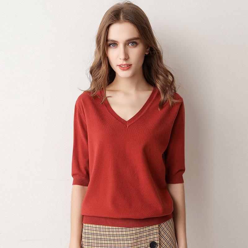 2019 Women's Autumn Winter Sweater Women Half-Height V-Neck Short Sleeve Cotton Knit Sweater Blend Slim Style Pullover Knitwear