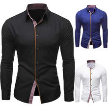 Fashion Men Slim Fit Business Shirts Mens Long Sleeve Shirt Suits Casual Tee Blouse Top