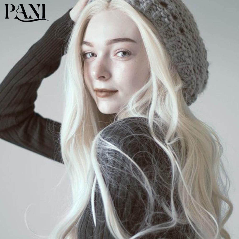 PANI sentetik peruk kadınlar için yapay saç uzatma Fantezi beyaz peruk kadın uzun vücut dalga peruk Lolita peruk Cosplay peruk