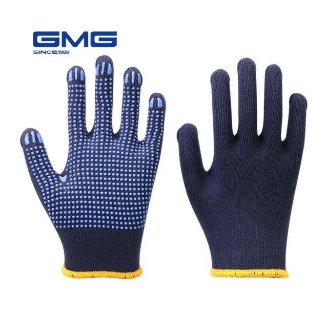 מקצועי עבודה כפפות GMG חיל הים כחול Polycotton פגז כחול PVC נקודות ציפוי עבודת בטיחות כפפות כותנה כפפות