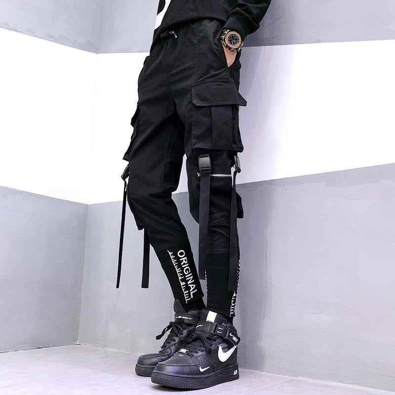 2020 Celana pria Musim Gugur Harem Hitam Celana Kargo Pria Hip Hop Celana Streetwear Harajuku Jogger Sweatpant Kapas Celana Pria Celana
