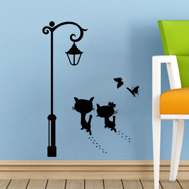 New Sweet Couple Cat Wall Stickers Street Light Butterfly Decorative Stickers For Kids Room Living Room Wall Decal Home Decor