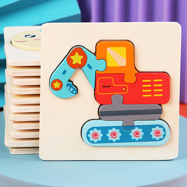 Kids Wooden Toys 3D Wood Puzzle Cartoon Animals Cognitive Jigsaw Puzzle Early Learning Educational Toys For Children Gift 1