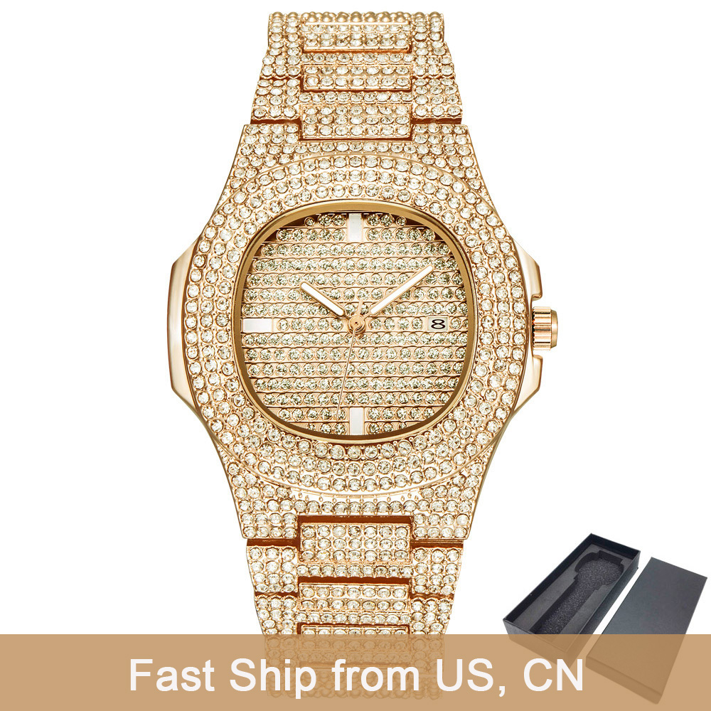 Dropshipping Luxury ICE-Out Bling Diamond Watch Men Gold Hip Hop Iced Out Watch Men Gold Quartz Watches Stainless Steel Relogio