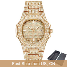 Dropshipping Luxury ICE-Out Bling Diamond Watch Men Gold Hip Hop iced out
