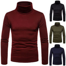 Men's Casual Slim Fit Basic Turtleneck Sweater Tops Knitted Pullover Sweater Turtleneck Pullover Male Double Collar Tops