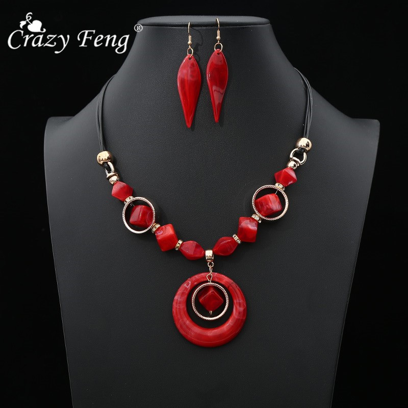 Crazy Feng Statement Pendant Necklace Earring Sets Chokers Wedding Costume Jewelry Set
