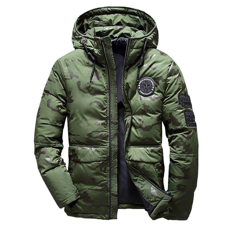 Новинка 2019, Мужская зимняя пуховая куртка, Мужское пальто с капюшоном, Камуфляжная парка, белая мужская Толстая куртка, Сверхлегкий пуховик для мужчин