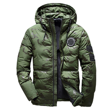 2019 New Men Winter Feather Jacket men Coat Hooded camouflage parka jackets whit