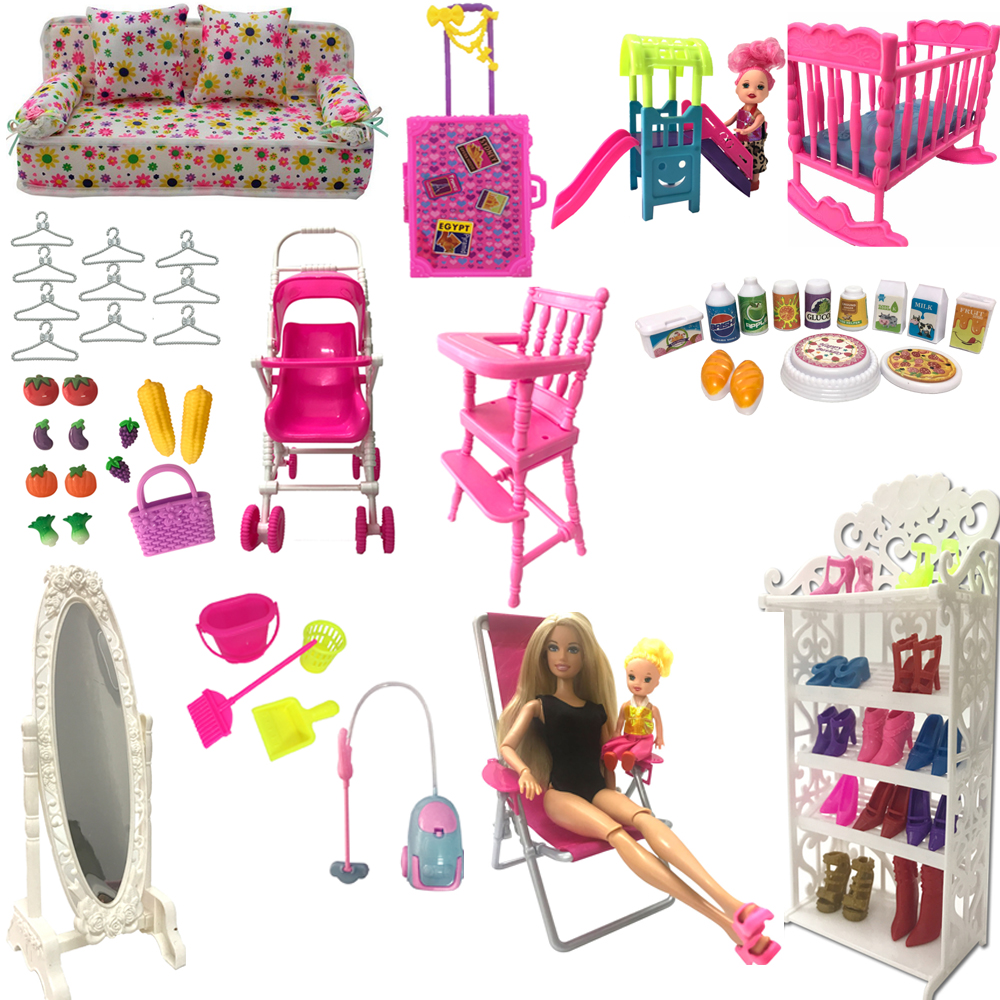 NK Mix Style  Doll Furniture Play Toy Chair Shoe Rack Mirror  Slide For Barbie Doll Accessories Kelly 1:12 Doll  DIY Toys JJ